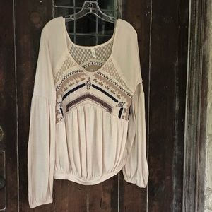 FREE PEOPLE | Boho Lace & Embroidered Peasant Top